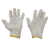 Перчатки хозяйственные хб без ПВХ, белые, Китай, упаковка — 12 пар