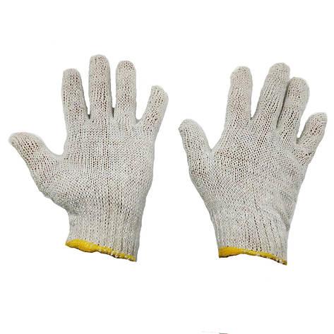 Перчатки рабочие белые трикотажные хб без протектора точки, фото 2
