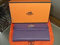 d395d5987106 Женский кожаный кошелек Hermes Original quality цвет фиолетовый пудровый