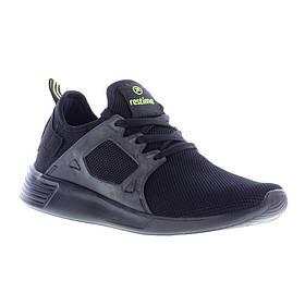 Мужские кроссовки Restime PMB19020 BLACK-L.GREEN, черные, сетка