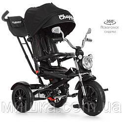 Дитячий велосипед M 4056-20 триколісний, колеса надувні, поворот сидіння, чорний