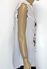 Блузка літня без рукавів з вишивкою 100% бавовна, фото 3