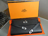 b8a3b6bef84d Женский кожаный кошелек Hermes Original quality цвет черный Портмоне