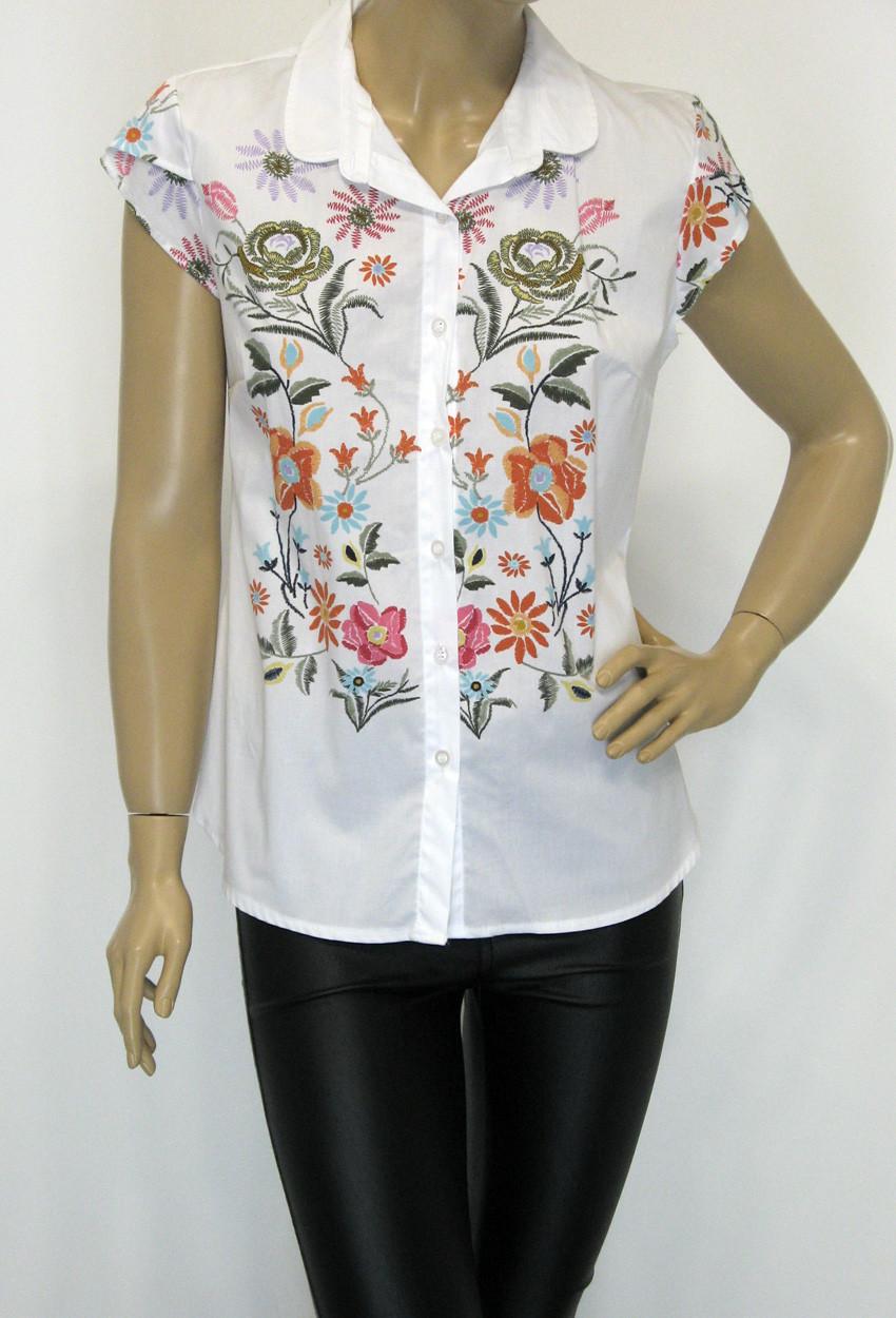 Блуза без рукава цветочный принт