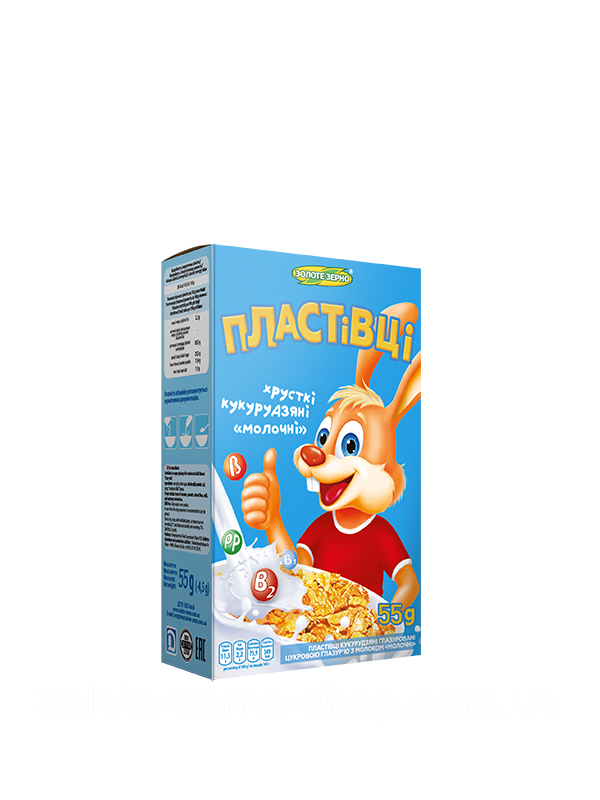 Пластівці кукурудзяні глазуровані цукровою глазур'ю з молоком «Молочні» 55 г