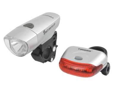 Велофонари комплект Tiross TS-637 grey LED 1W + 5 LED AAA