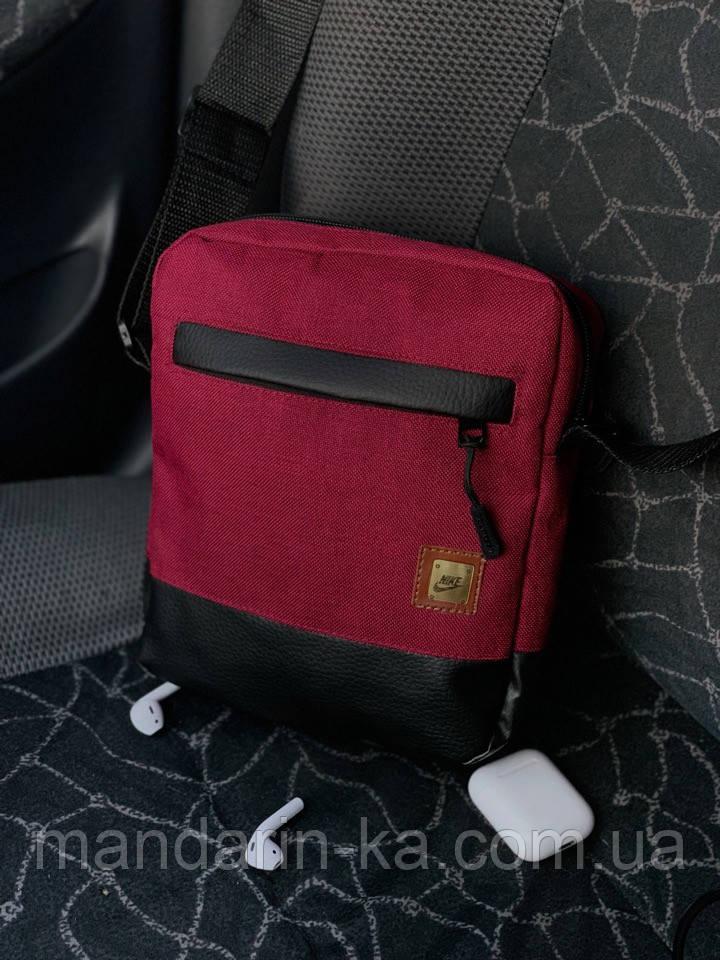 Мужская  городская сумка мессенджер Nike (Найк) красная  (реплика)
