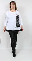 Турецкая женская туника-рубашка, больших размеров 50-60