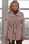 Удлиненная кожаная куртка цвета пудра S M L