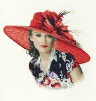 Набор для вышивания крестиком Дама в шляпе. Размер: 20,6*20 см