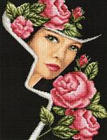 Набор для вышивания крестиком Красивая дама в шляпе. Размер: 20,6*27 см