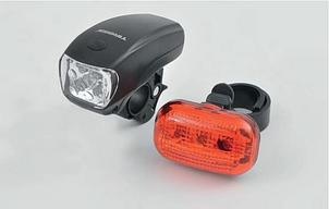 Велофонари комплект Tiross TS-656 black LED 4W + 5 LED AAA