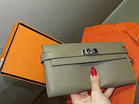 8d7b55a2a766 Женский стильный кожаный кошелек Hermes Original quality цвет серо пудровый