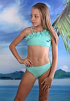 Раздельный модный детский купальник на девочку Teres Бирюза размер только  14-16 лет