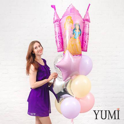 Фонтан из фигуры Замок принцессы, розовой, серебряной звезды, 6 пастельных шаров и 1 шара с конфетти, фото 2