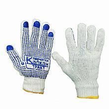 Перчатки рабочие хб Капкан с ПВХ точкой 7 класс 3 нити белые