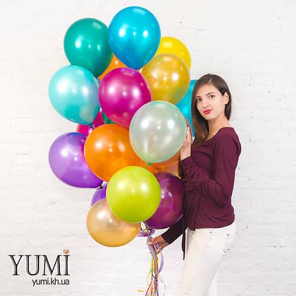 25 разноцветных гелиевых шаров с металлическим блеском, фото 2