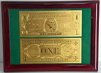 Подарочное панно с золотой 1 $ банкнотой