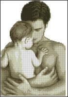 Набор для вышивания крестиком Отец с ребенком. Размер: 15,9*23 см