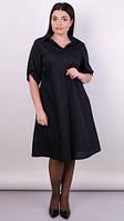 Пальмира. Стильное платье-рубашка plus size. Чёрный