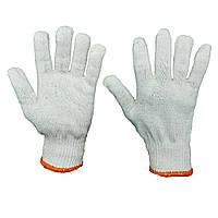 Перчатки рабочие х/б трикотажные без ПВХ, белые вязаные, упаковка — 10 пар