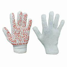Перчатки рабочие женские хб с ПВХ протектором белые
