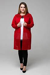 Красный кардиган женский большой Беверли сетка