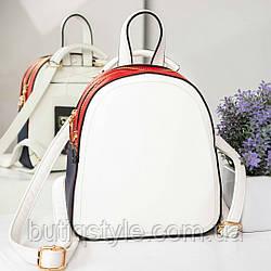 Молодежная сумка-рюкзак с двумя отделениями белая с красными и синими вставками искусственная кожа