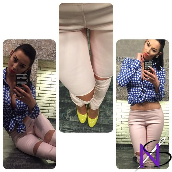 Женские Укороченные штаны из экокожи