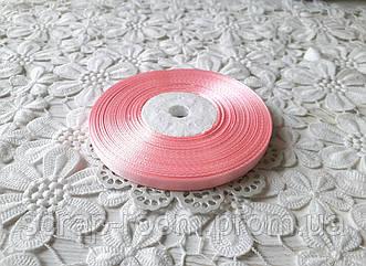 Лента атласная 0,6 см светло-розовая, лента розовая атлас, лента атласная светло-розовая, цена за метр