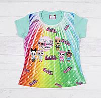 Детская футболка для девочек с LOL 1,2,3,4 года мята