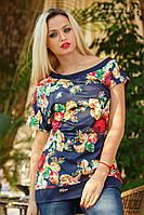Женская трикотажная туника с красивым принтом   S, фото 1