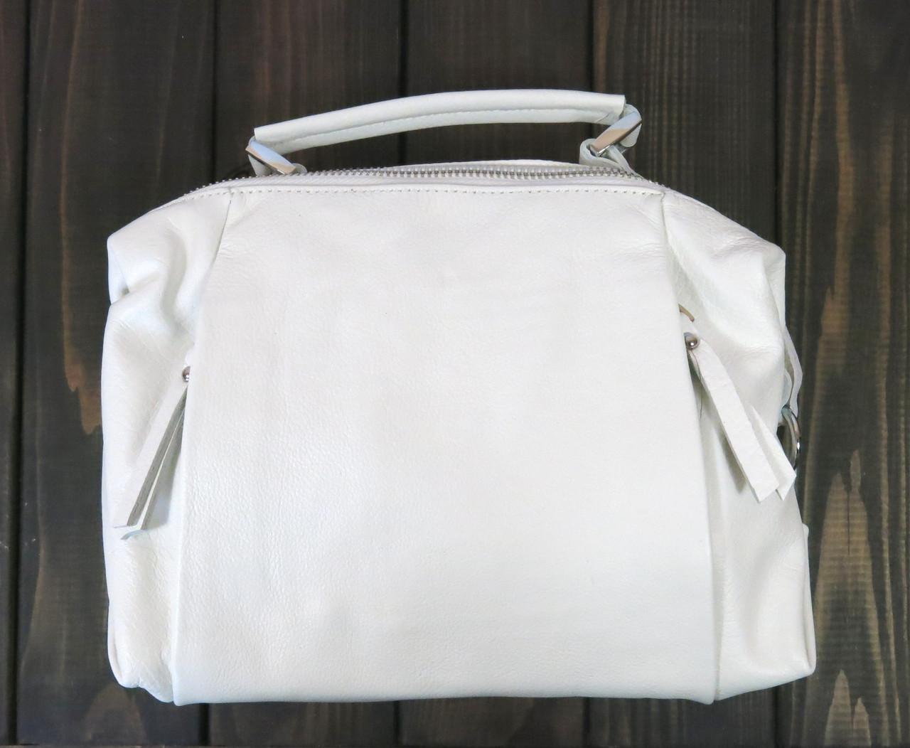 Кожаная белая маленькая сумка Farfallo Rosso