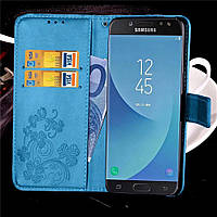 Чехол Clover для Samsung Galaxy J7 2017 / J730 книжка кожа PU голубой, фото 1