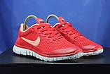 Червоні жіночі кросівки Nike Free Run 3.0 для бігу і залу, фото 2