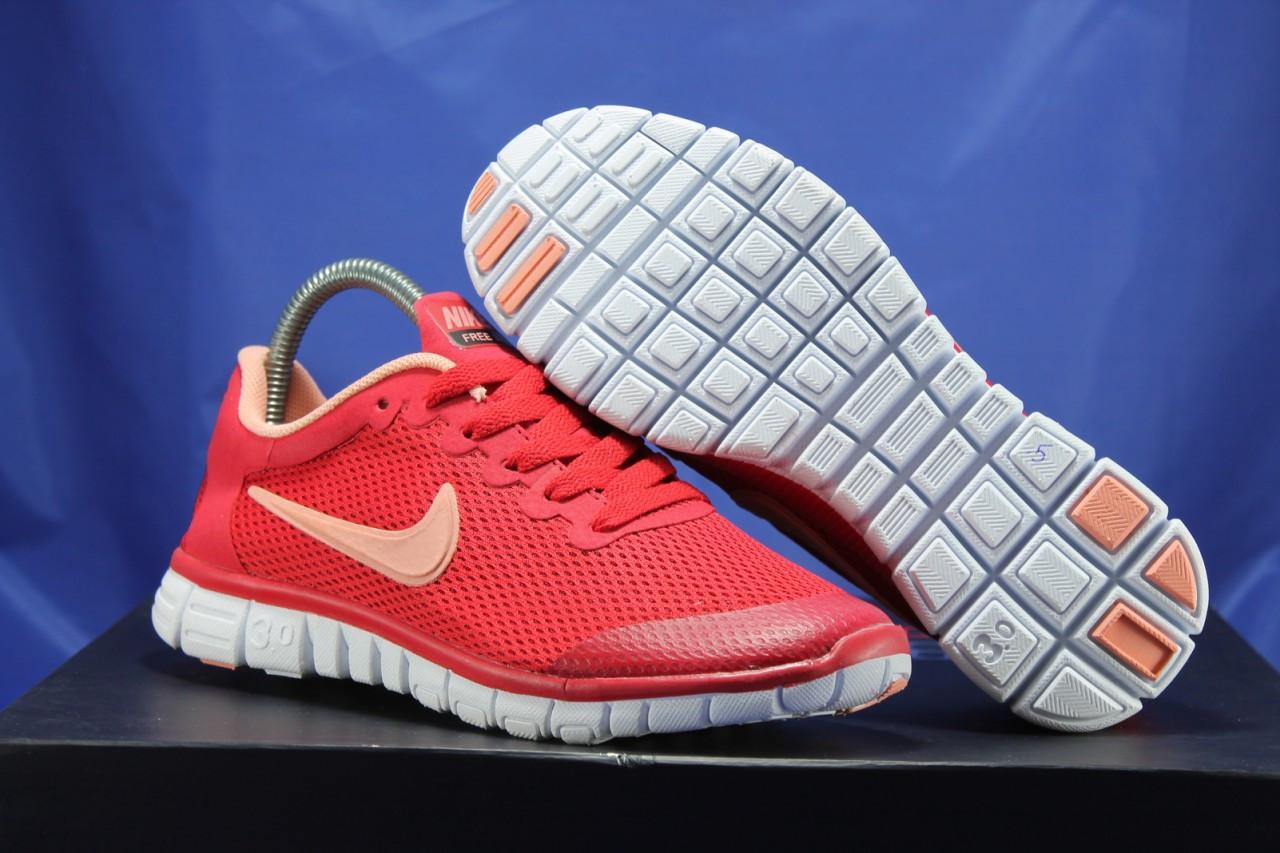 Червоні жіночі кросівки Nike Free Run 3.0 для бігу і залу
