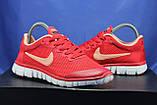 Червоні жіночі кросівки Nike Free Run 3.0 для бігу і залу, фото 5