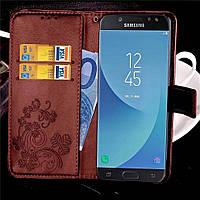 Чехол Clover для Samsung Galaxy J7 2017 / J730 книжка кожа PU коричневый, фото 1