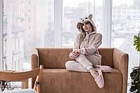 Домашняя пижама - комбинезон из плюшевой махры с ушками и вышивкой