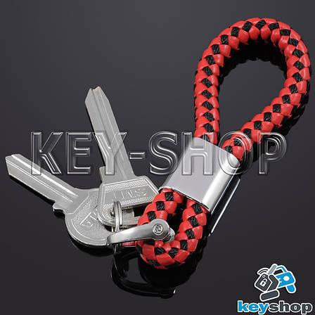 Красно - черный брелок с кожаным плетёным шнуром и двумя кольцами, фото 2