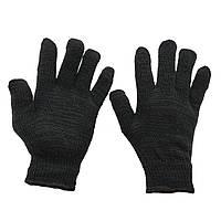 Перчатки рабочие трикотажные без протектора двухслойные вязаные чёрные