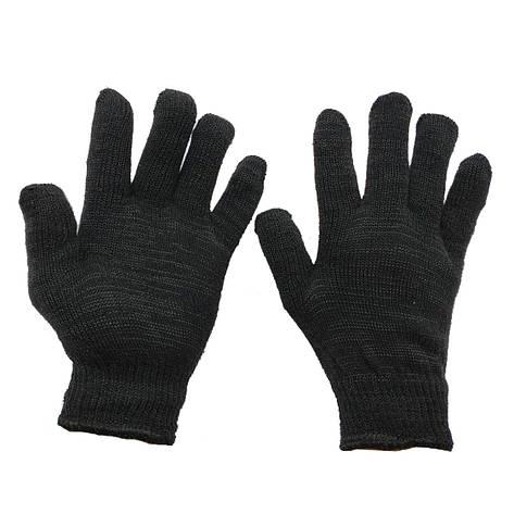 Перчатки рабочие чёрные трикотажные без протектора  двухслойные  вязаные, фото 2