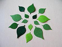 Зеленыые листья из фетра. Береза