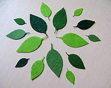 Зеленые листья из фетра. Вишня