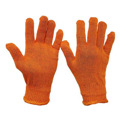 Перчатки рабочие Slim  трикотажные тонкие  без без протектора  оранжевые 8302, фото 2