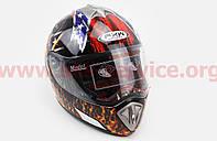 Шлем закрытый HF-180 L- ЧЕРНЫЙ c рисунком Q35