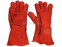 INTERTOOL SP-0156 Красные краги сварщика кожаные