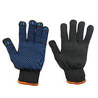 Перчатки рабочие х/б трикотажные с ПВХ-точкой, вязаные, чёрные, упаковка — 10 пар