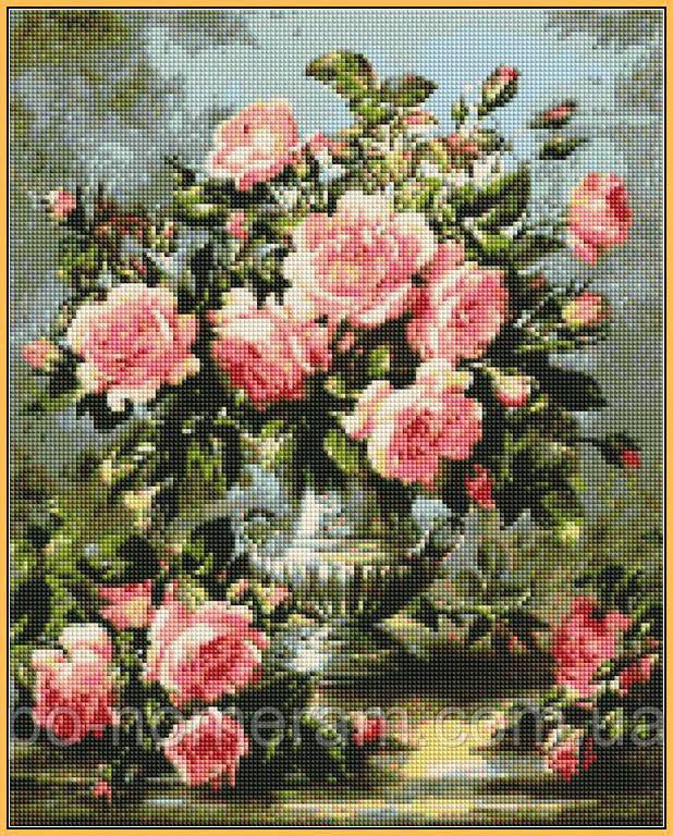 Картина из мозаики Babylon Розовые розы в серебряной вазе (ST1117) 40 х 50 см (На подрамнике)