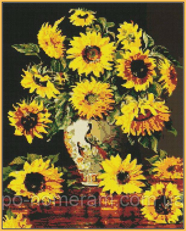 Алмазная мозаика Babylon Подсолнухи в вазе с павлинами (ST946) 40 х 50 см (На подрамнике)